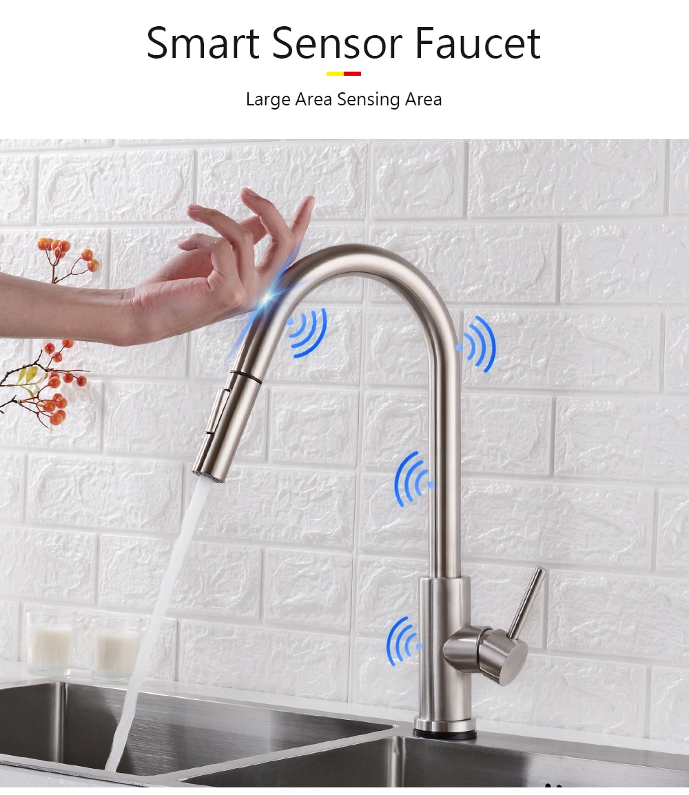 Pull Out Black Sensor Kitchen Faucets Stainless Steel Smart Induction Mixed Tap Touch Control Sink Tap Torneira De Cozinha 14